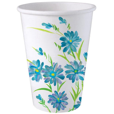 Nicole Home Collection Everyday Paper Hot Cold Cup Blue Floral 12oz 24Ct