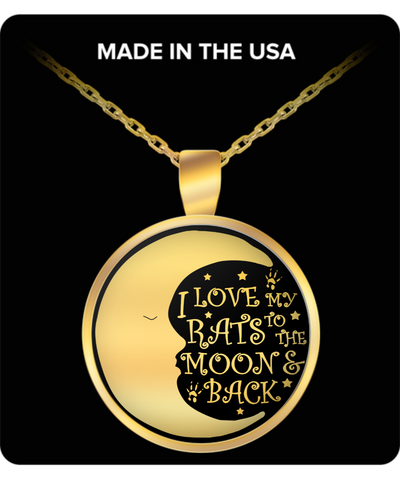 I love my rats to the moon and back - Gold Necklace