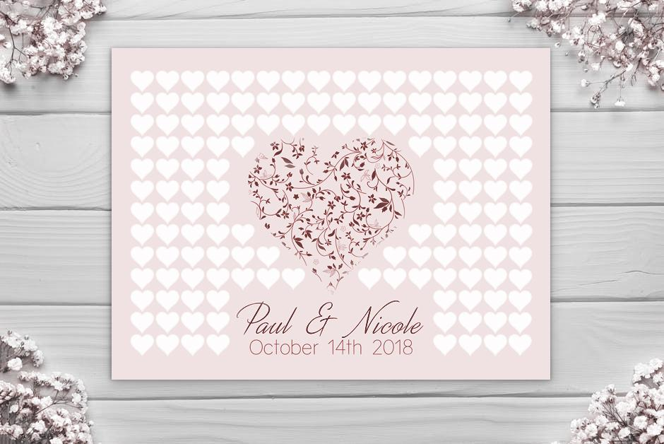 Wedding Guest Book - Large Heart Alternative - Canvas Vows
