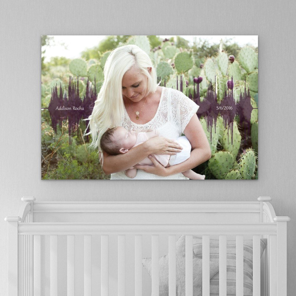 Baby's Heartbeat And Image Soundwave Canvas - Canvas Vows