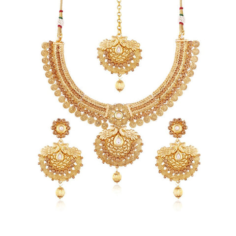 24k Gold Plated Traditional Jewellery Set With Maang Tikka For Women