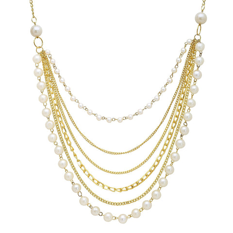 Alloy Pearl Stud White Chain Necklace For Women