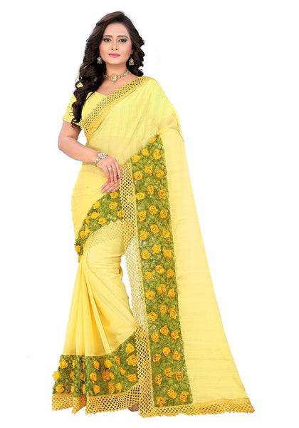 Trendy Yellow & Olive Chiffon Floral Saree