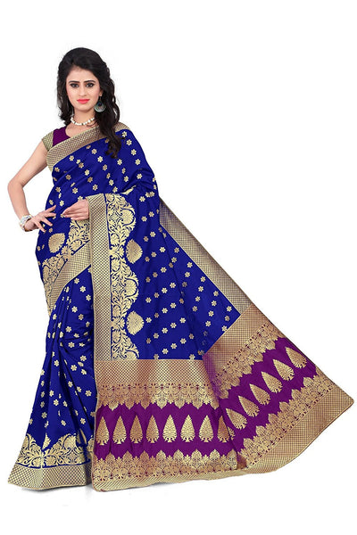 Silk Cotton Sarees With Floral Print & Stunning Embroidery Work S011