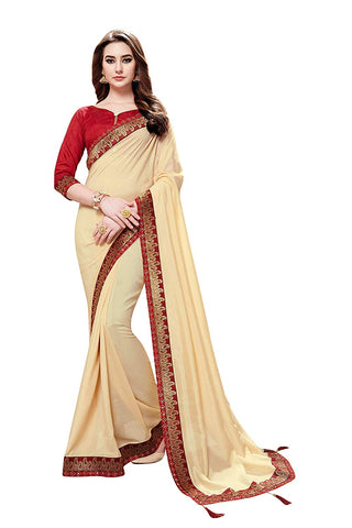 Art Silk Sarees - Women's Cotton Art Silk Beige Party Wear Saree with Blouse Piece