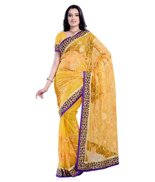 Yellow Color Net Saree Designed With Floral Embroidery & Broad Lace Border Work Designer Net Sarees