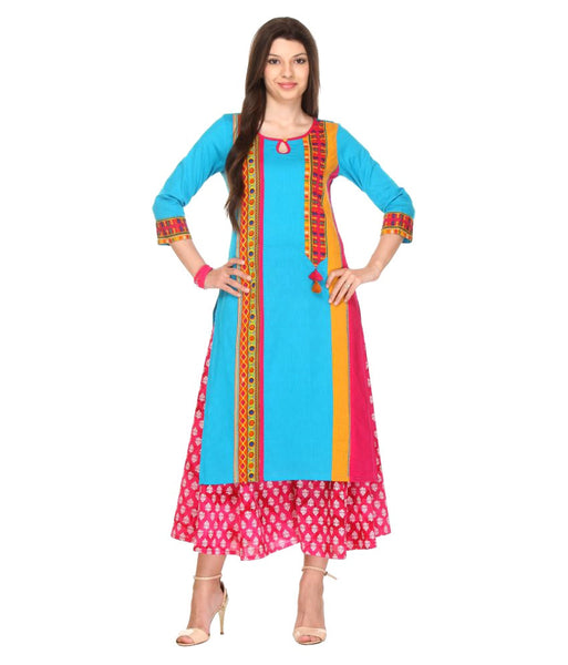 Urban-Naari-Light-Blue-Colored-Designer-Cotton-Blend-Printed-Stitched-Kurti