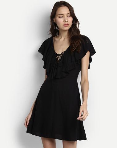 black-dress-hem-skater-dress-party-wear-dresses-online