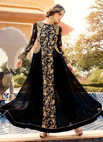Anarkali-Black-Embroidered-Georgette-Ankle-Length-Anarkali-Suit