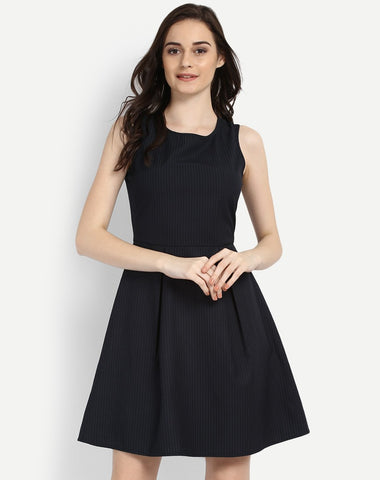 black-lining-printed-pleated-skater-dress-party-wear-black-dress