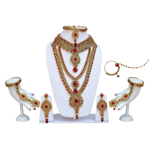 Bridal Jewellery Gold & Red Color Alloy Kundan with Stone Wedding Jewellery