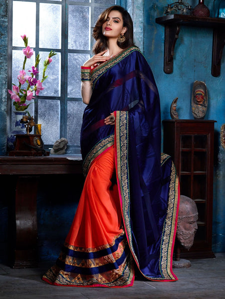 Eid Special Designer Blue & Orange Pure Satin Saree With Embroidery & Border Work