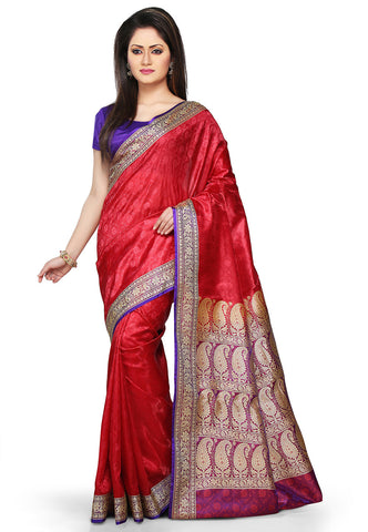 Banarasi-Art-Silk-Saree-Red-Woven-Designer-Handmade-Banarasi-Silk-Saree
