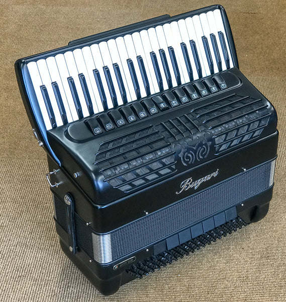 Bugari 288 Essenzia Black Matt Compact 120 Bass Piano Accordion - TheReedLounge.com