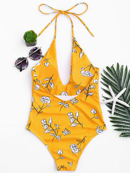 Floral Silhouette One Piece Swimsuit