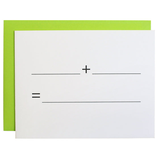 Blank Plus Blank Letterpress Card