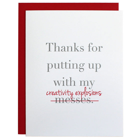 Creativity Explosions Thank You Letterpress Card