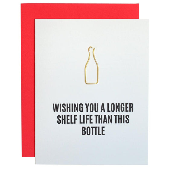 Longer Shelf Life Wine Bottle Paper Clip Letterpress Card