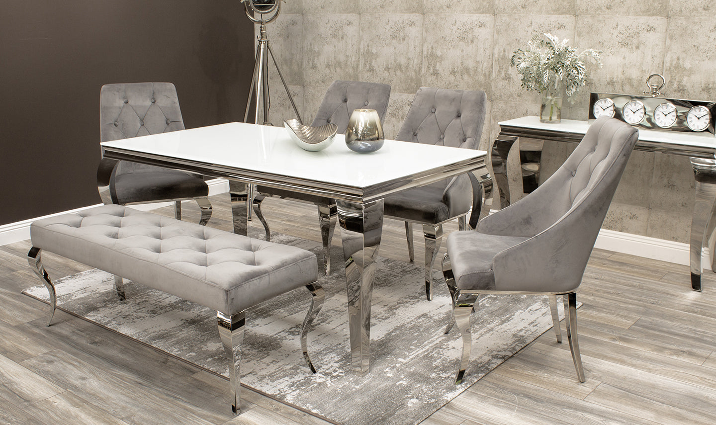 Louis 160cm White Glass Dining Table + Cassia Dining ...