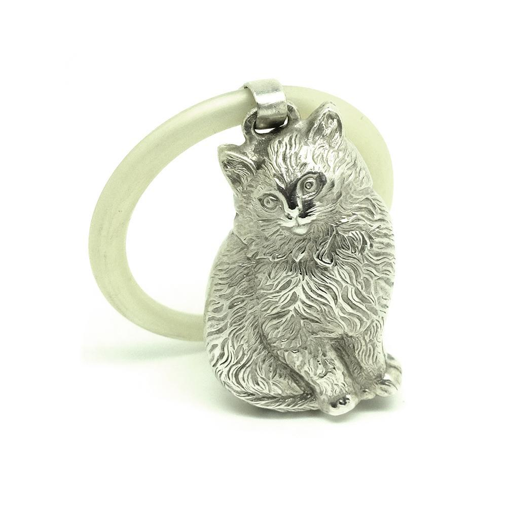 Art Deco 1920s Sterling Silver Cat Baby Rattle