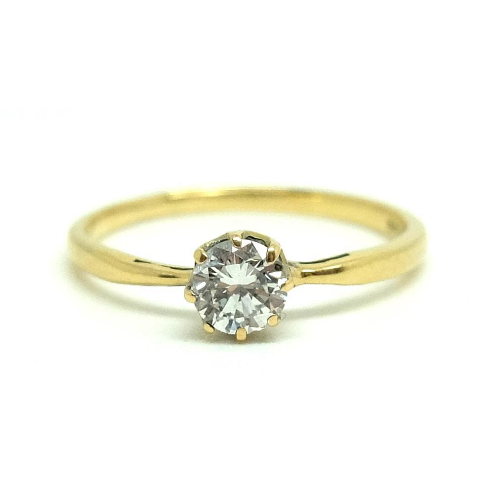 Vintage 1940s Solitaire 0.3ct Diamond 18ct Gold Ring