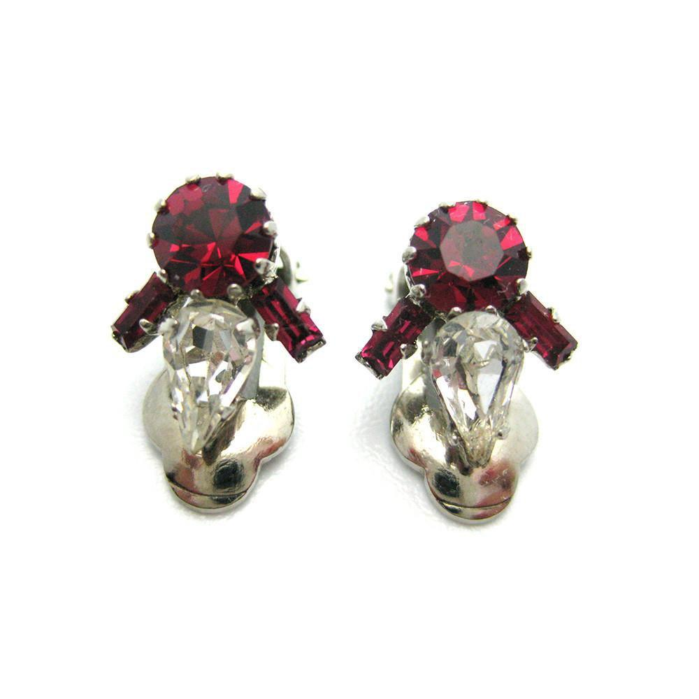 Vintage 1950's Cherry Red Diamante Earrings