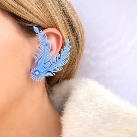 Vintage 1950s Blue Spray Flower Earrings