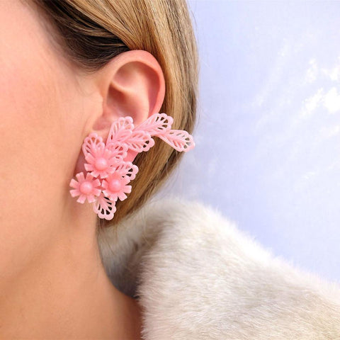 Vintage 1950s Floral Pink Crawler Clip Earrings