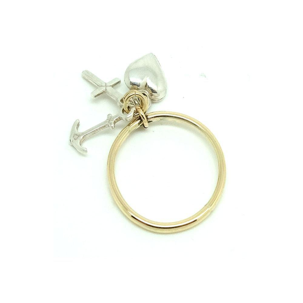 Vintage 1970s Faith, Hope & Charity Silver & 9ct Gold Ring | N / 7