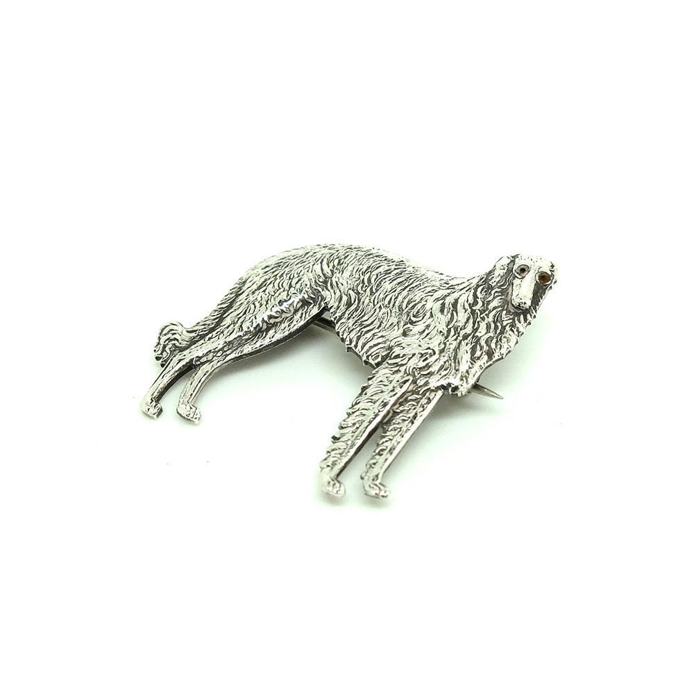 Vintage 1920s Art Deco Borzoi Sterling Silver Dog Brooch