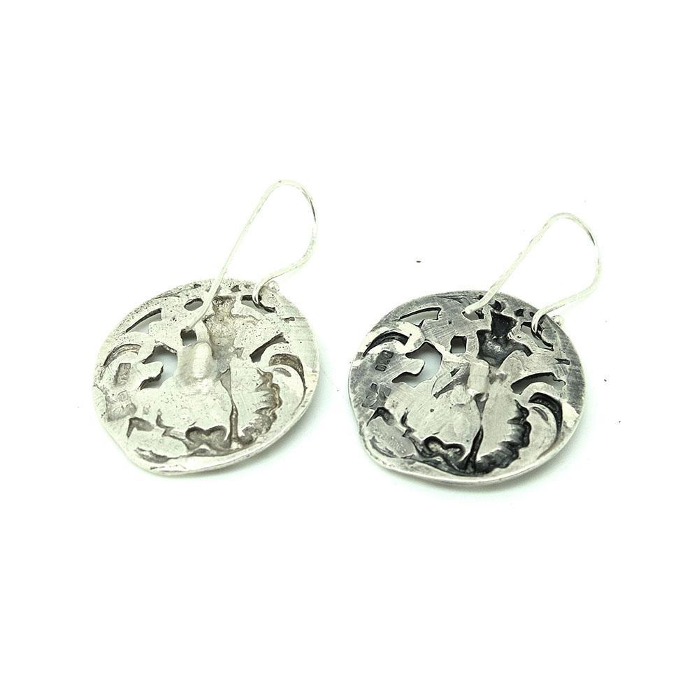 Antique Art Nouveau 1902 Poseidon God of the Sea Silver Drop Earrings