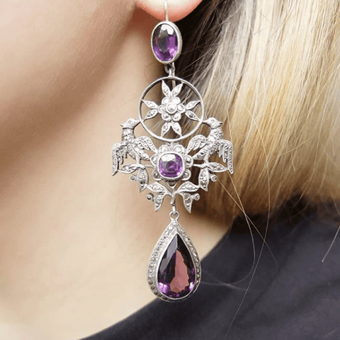 Antique French Edwardian Silver Amethyst Marcasite Drop Gemstone Earrings