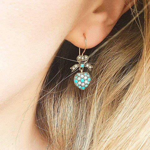 MODERN Necklace Modern Victorian Style Turquoise 9ct Gold Earrings
