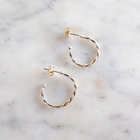 Twist Earrings | Handmade 9ct Yellow Gold Hoop Earrings