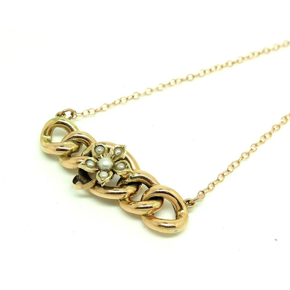 Antique Victorian Seed Pearl Chain 9ct Rose Gold Necklace