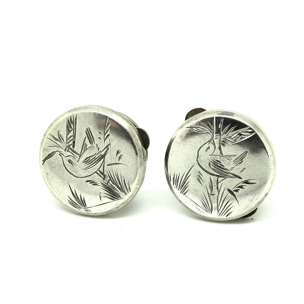 VICTORIAN Cufflinks Antique Victorian Sterling Silver Bachelor Button Cufflinks
