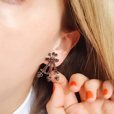 VICTORIAN Earrings Antique Victorian Garnet 8ct Gold Screw Earrings