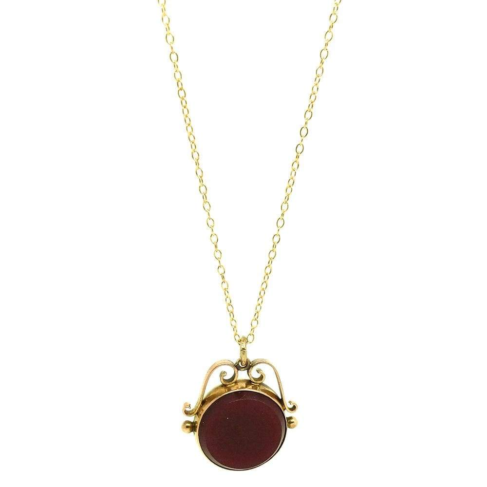 VICTORIAN Necklace Antique Victorian Carnelian Bloodstone 9ct Gold Fob Necklace