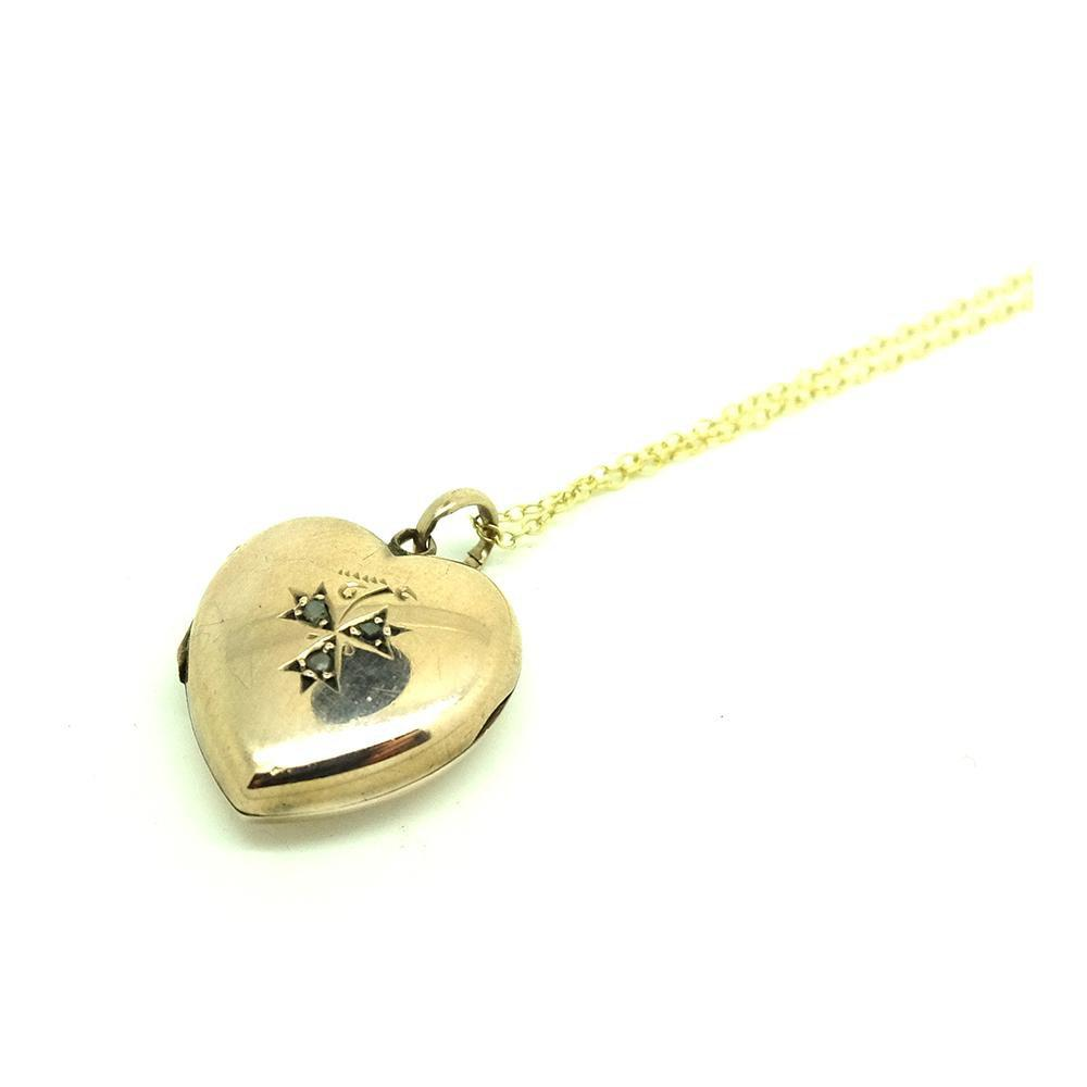 Antique Victorian Rose Cut Diamond Heart Locket Necklace