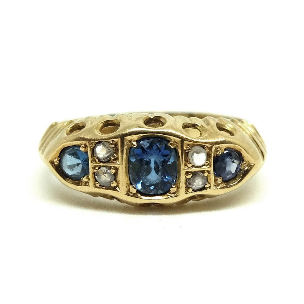 VICTORIAN Ring Antique Victorian 18ct Yellow Gold Diamond Sapphire Ring