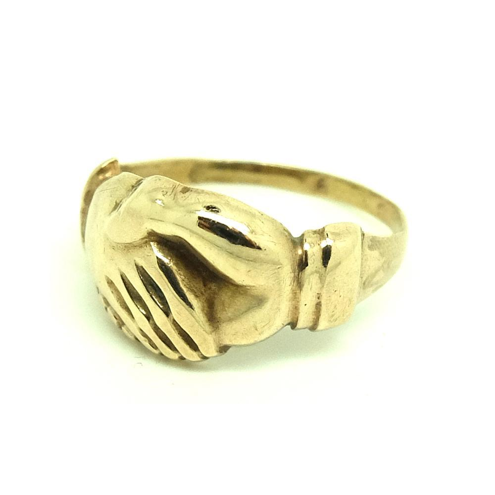 Antique Victorian 9ct Rose Gold Clasped Hands Ring