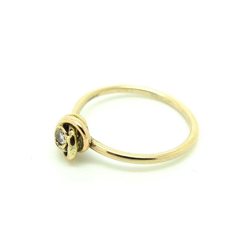 Antique Victorian Diamond Knot 9ct Yellow Gold Gemstone Ring | Q / 8.5