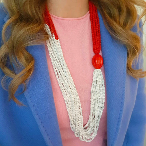 Vintage Red & White Glass Multi Beaded Necklace
