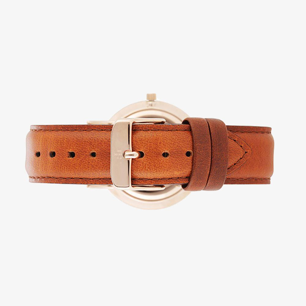 Rose Gold Woman's Watch Brown Leather