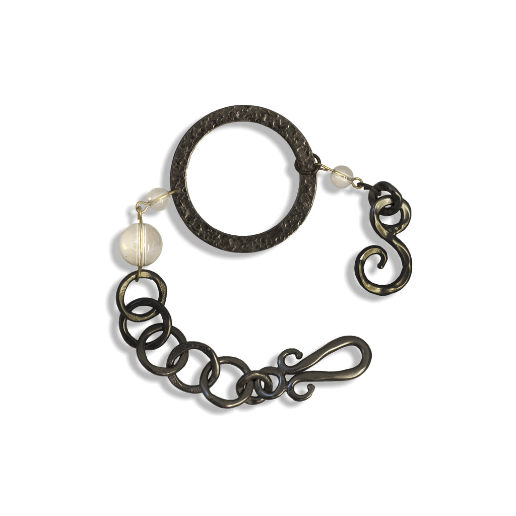 Paris Round Large Bracelet Charcoal In White Crystal