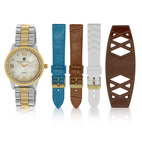 """Runway Watch"" Set, Two-Tone Yellow Gold and Silver"