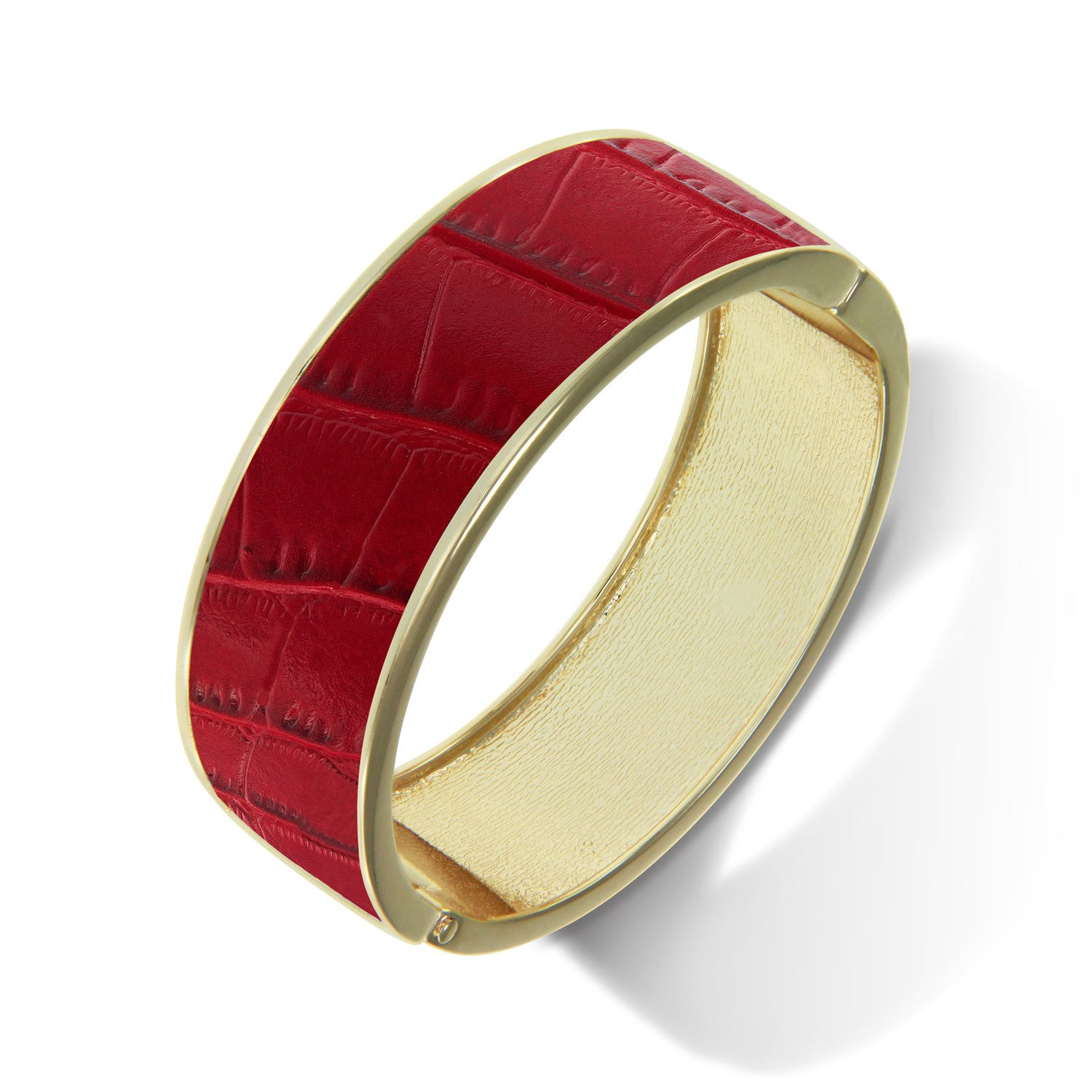 """Sabi Colori"" Crimson Red Croco Inlay Wide Hinge Bangle- Goldtone"