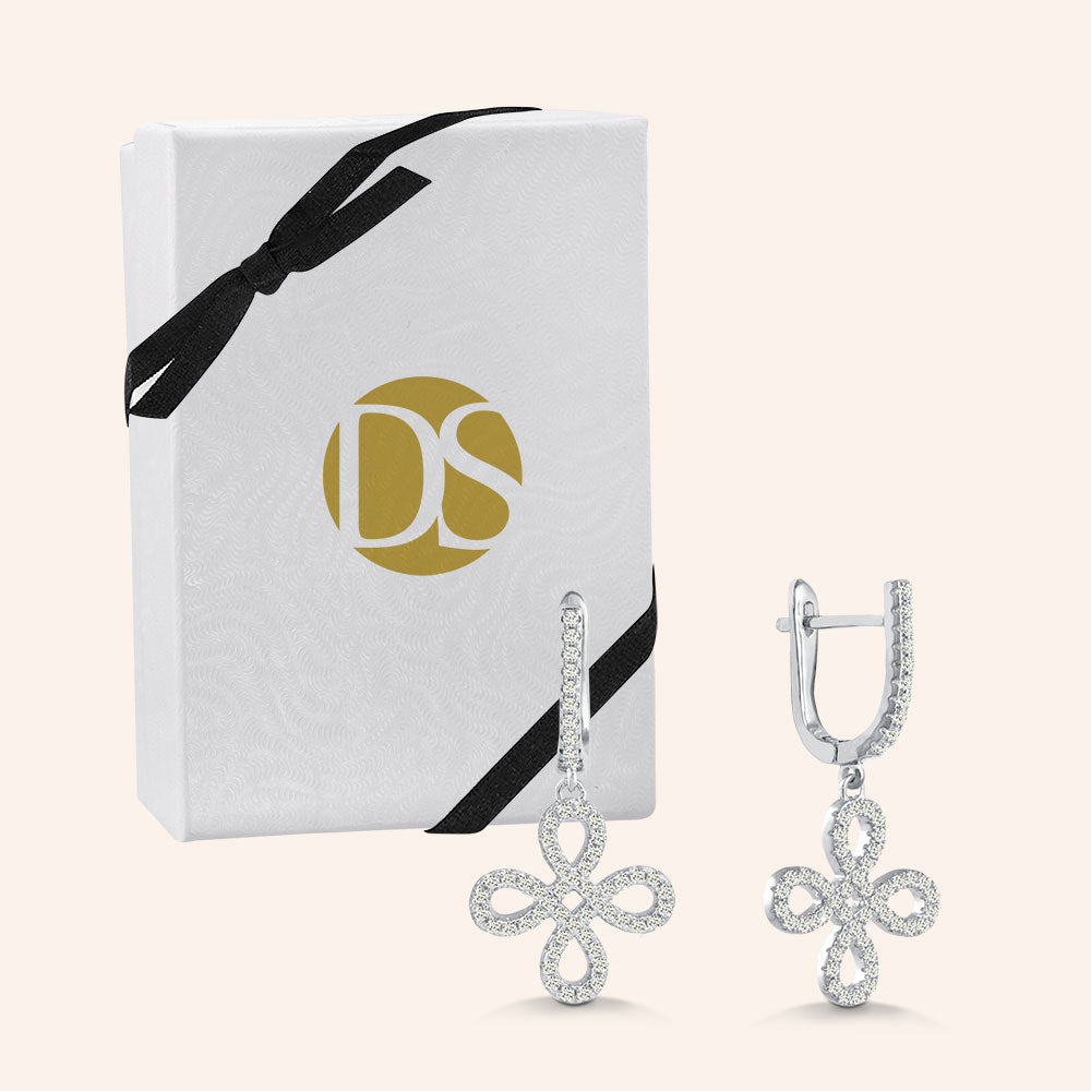 """Free to Flourish"" 1.7CTW Pave 4 Petals Cut-Out Design Drop Earrings - Silver"