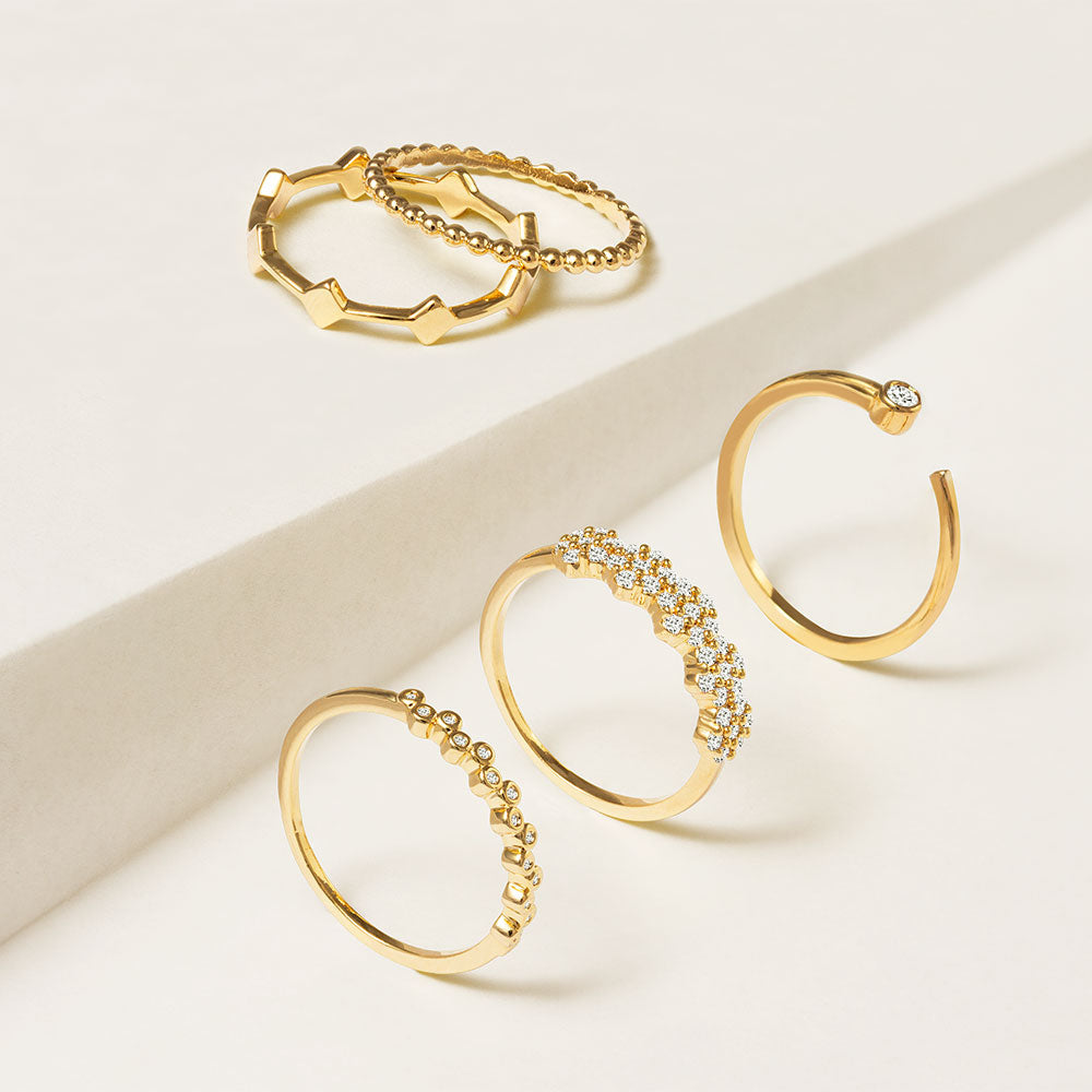 """Suits me Perfectly""  010CTW Set of 5  Stackable Rings - Gold"
