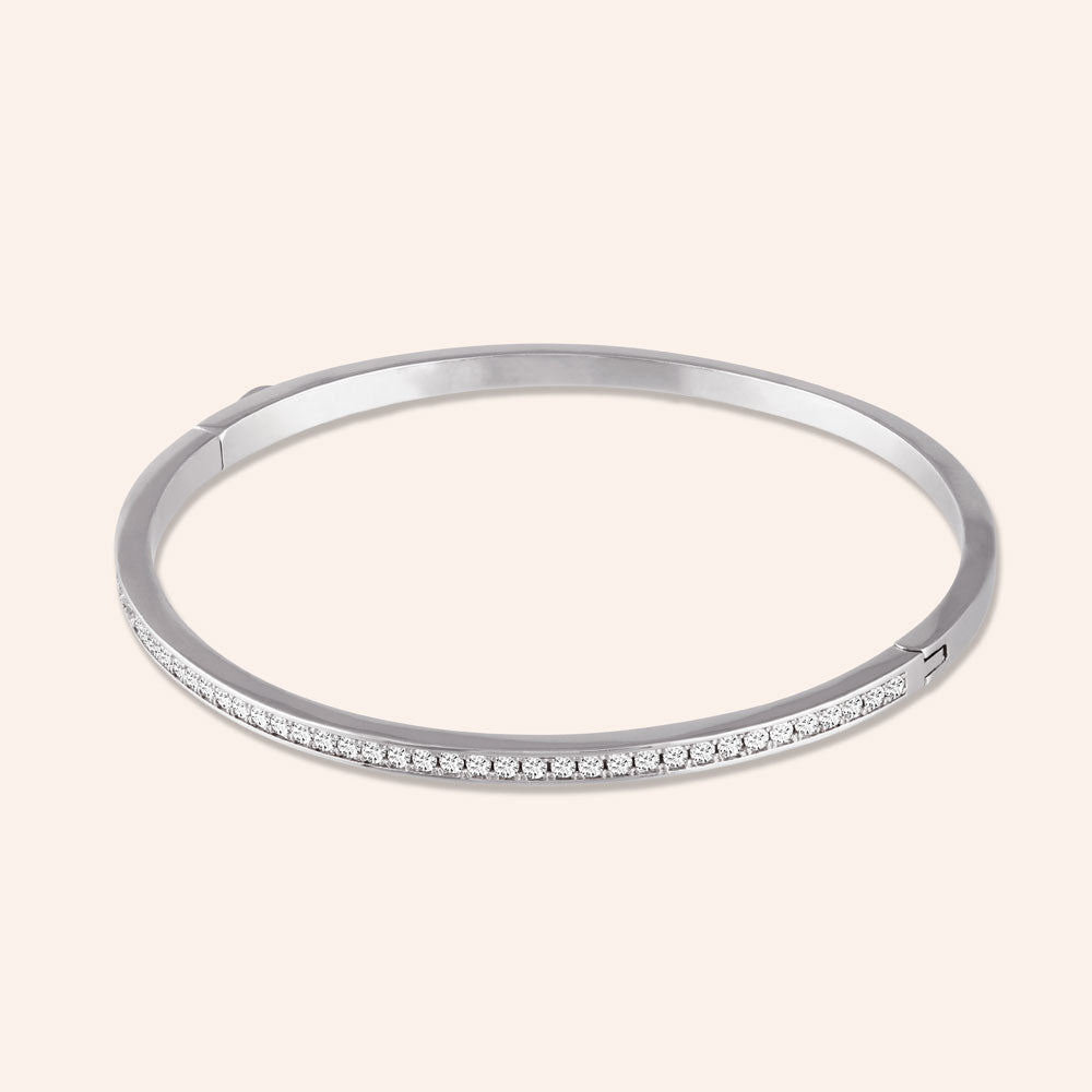 """SIMPLY Elegant"" 1.6CTW HINGED BANGLE BRACELET - Silver"